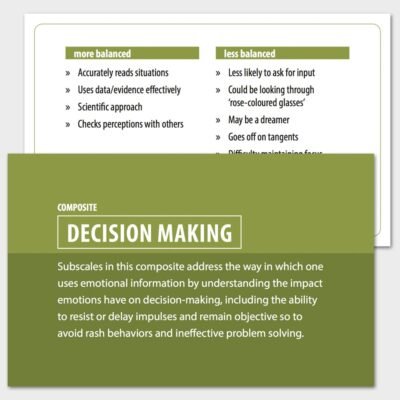 Decision making composite card, and the reality testing balance card.