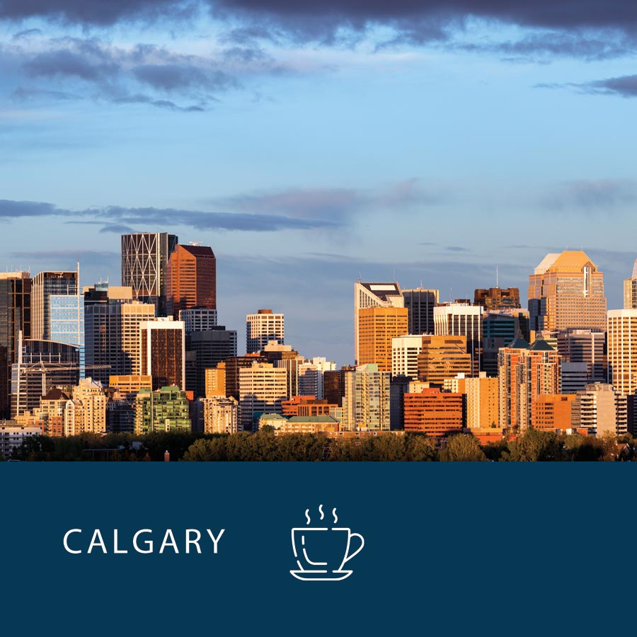 The Calgary skyline, with the power breakfast coffee icon at the bottom.